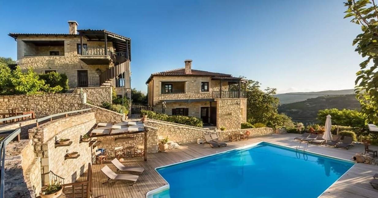 Asion Lithos eco tourism hotel on Crete - exterior panoramic view